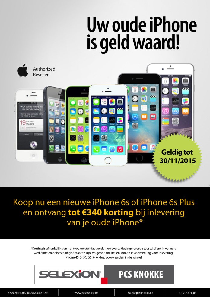 Uw iPhone is geld waard bij PCS Knokke
